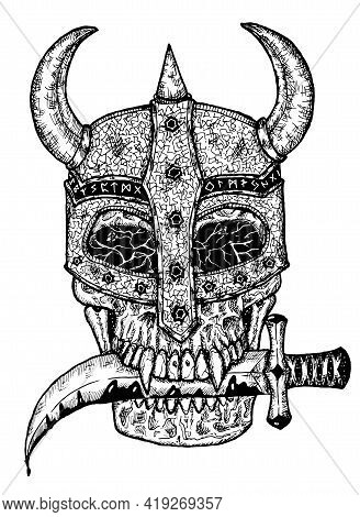 Black And White Illustration Of Scary Skull In Knight Helm Holding Dagger Knife In Teeth Isolated On