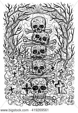 Black And White Engraved Illustration Of Scary Skulls And Bones In Cemetery With Graves, Evil Trees