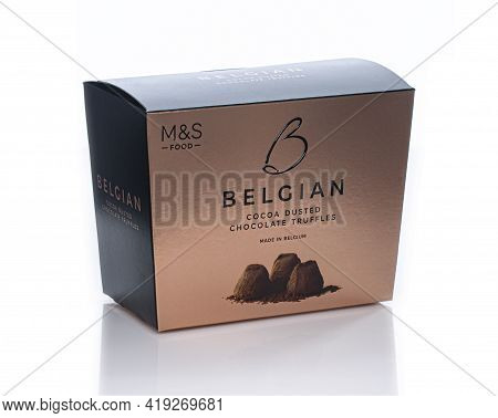 Swindon, Uk - May 3, 2021: Marks And Spencers Belgian Cocoa Dusted Chocolate Truffles.