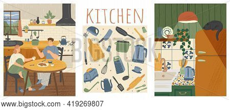 Vector Set Of Home Kitchen Posters In Cartoon Hand Drawn Style. Family Having Breakfast At Home In T