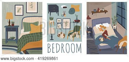 Woman Sleeping In Bed With A Dog. Bedroom Interior Hand Drawn Vector Illustration Set. Home Modern I