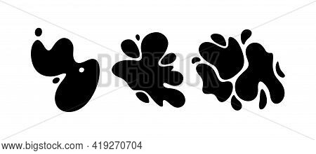 Stain Template Of Dynamic Shapes Set. Messy Black Stain Isolated In White Background. Vector Illustr