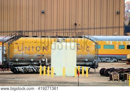 April 26, 2021 In Cheyenne, Wy:  Vintage Railroad Cars Stored At The Cheyenne, Wy Railroad Museum Wh