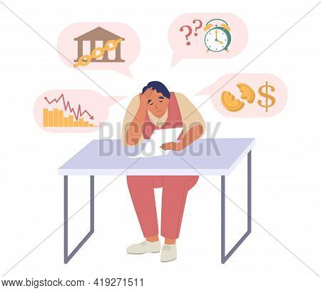 Businessman Experiencing Financial Problems, Vector Illustration. Business Failure, Bankruptcy, Econ