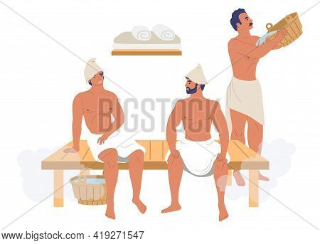 Male Characters, Friends Enjoying Steam Bath, Sauna, Flat Vector Illustration. Spa Resort, Steam Roo