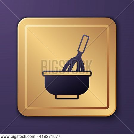 Purple Kitchen Whisk With Bowl Icon Isolated On Purple Background. Cooking Utensil, Egg Beater. Cutl