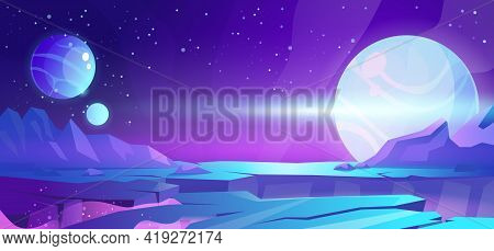 Cosmic Background, Alien Planet Deserted Landscape With Mountains, Rocks, Deep Cleft And Stars Shine