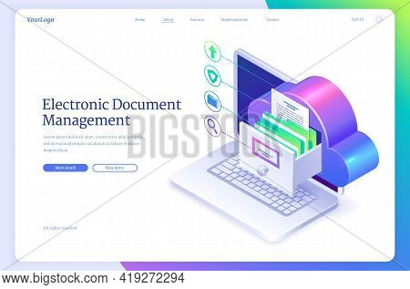 Electronic Document Management Isometric Landing Page. Online Paperwork Storage, Digital System Of P