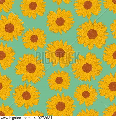 Seamless Pattern Of Yellow Sunflowers On Turquoise Background. Decorative Print For Wallpaper, Wrapp