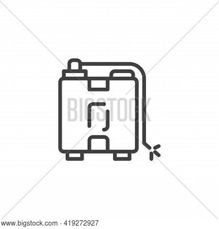 Knapsack Sprayer Line Icon. Linear Style Sign For Mobile Concept And Web Design. Garden Knapsack Out