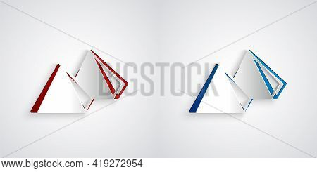 Paper Cut Egypt Pyramids Icon Isolated On Grey Background. Symbol Of Ancient Egypt. Paper Art Style.