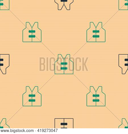 Green And Black Life Jacket Icon Isolated Seamless Pattern On Beige Background. Life Vest Icon. Extr