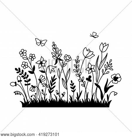 Vector Wild Herbs And Flowers Silhouette. Field With Grass, Wildflowers And Butterfly Isolated On A