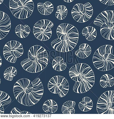 Hand-drawn Doodle Sea Shells And Fossils Vector Seamless Pattern. Summer Beach Seaside Print. Ocean