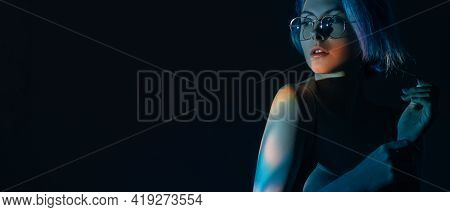 Fashion Portrait. Beauty Banner. Night Life. Woman With Iridescent Color Hair In Stylish Eyeglasses