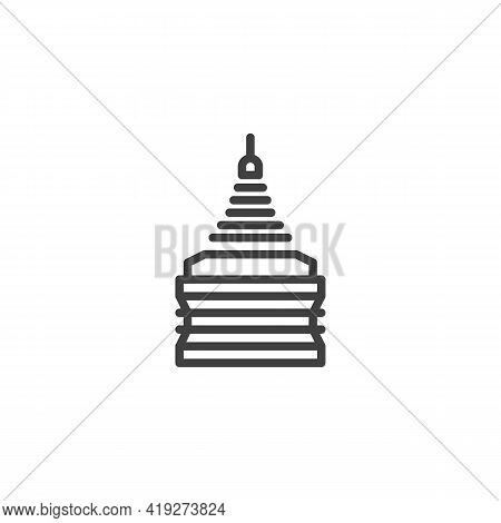 Golden Temple Line Icon. Linear Style Sign For Mobile Concept And Web Design. Thailand Temple Outlin