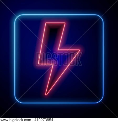 Glowing Neon Lightning Bolt Icon Isolated On Black Background. Flash Sign. Charge Flash Icon. Thunde