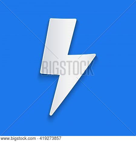 Paper Cut Lightning Bolt Icon Isolated On Blue Background. Flash Sign. Charge Flash Icon. Thunder Bo
