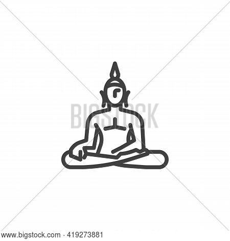 Statue Of Buddha Line Icon. Linear Style Sign For Mobile Concept And Web Design. Sitting Buddha Outl