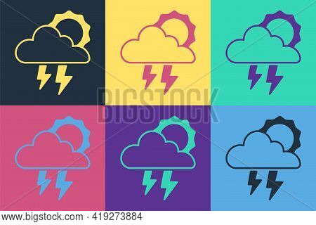 Pop Art Storm Icon Isolated On Color Background. Cloud With Lightning And Sun Sign. Weather Icon Of
