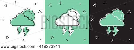 Set Storm Icon Isolated On White And Green, Black Background. Cloud With Lightning And Sun Sign. Wea