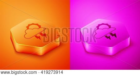 Isometric Storm Icon Isolated On Orange And Pink Background. Cloud With Lightning And Sun Sign. Weat