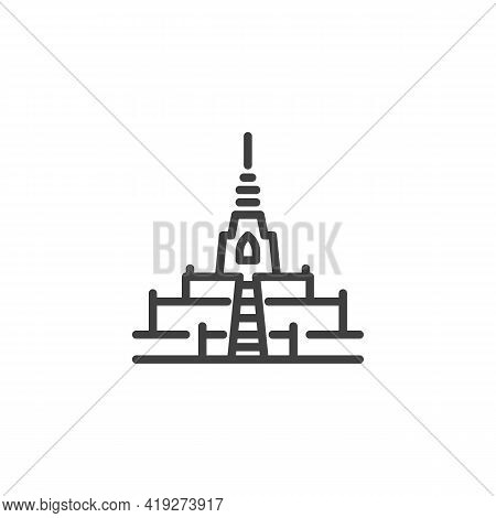Thailand Temple Line Icon. Linear Style Sign For Mobile Concept And Web Design. Buddhist Temple Outl