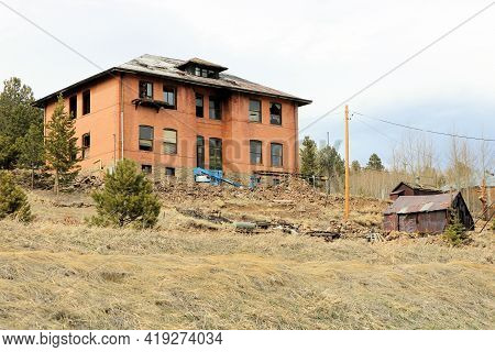 April 26, 2021 In Russell Gulch, Co:  Abandoned Dilapidated Schoolhouse Building Taken In The Ghost