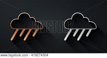 Gold And Silver Cloud With Rain Icon Isolated On Black Background. Rain Cloud Precipitation With Rai