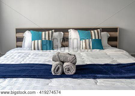 Closeup Towel On Queen Size Bed In The Bedroom For Service The Customer, Studio Room Type Of Condomi