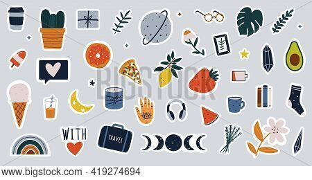 Collection Of Hand Drawn Colorful Stickers For Agenda, Diary Or Bullet Journaling. Cute Clipart Elem