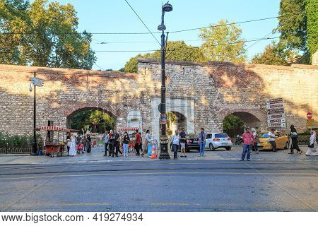 Istanbul, Turkey - September 13, 2017: Sogyuk Cesme Gate Is The Entrance Of To The Gulhane Par,k Sur