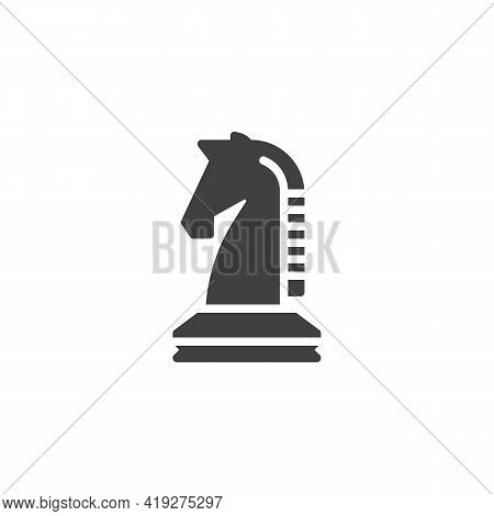 Chess Knight Vector Icon. Filled Flat Sign For Mobile Concept And Web Design. Horse Chess Piece Glyp