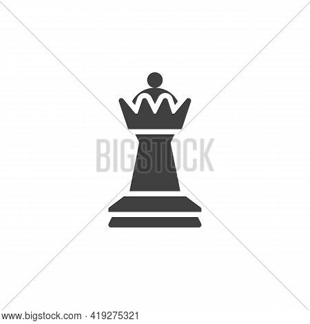 Chess Queen Vector Icon. Filled Flat Sign For Mobile Concept And Web Design. Chess Piece Glyph Icon.