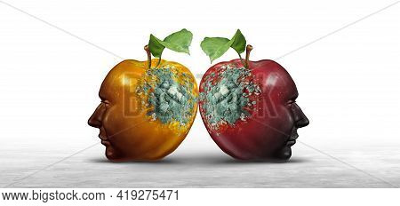 Destructive Ideas Concept As Contagious Thinking Causing Harm Or Spreading Hate As Two Decaying Appl