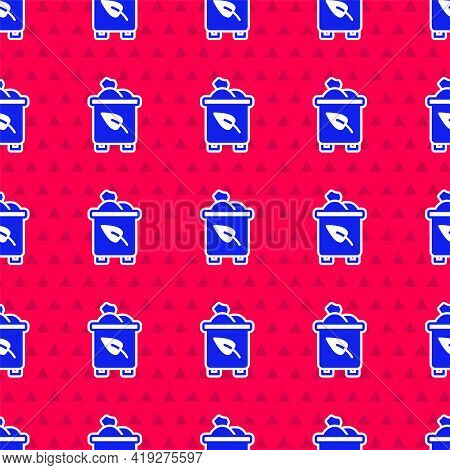 Blue Recycle Bin With Recycle Symbol Icon Isolated Seamless Pattern On Red Background. Trash Can Ico