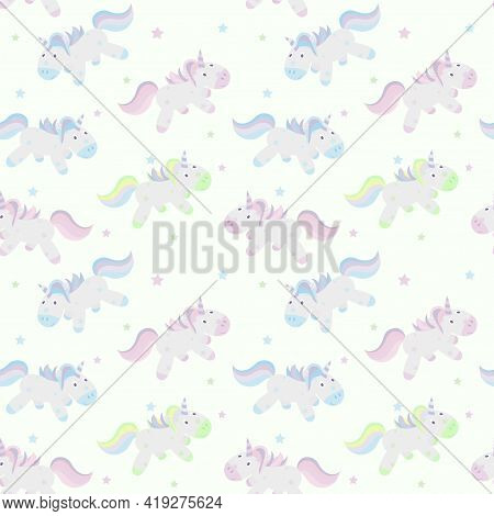 Seamless Pattern With Pink, Blue And Light Green Unicorns. Print For Childrens Textiles.