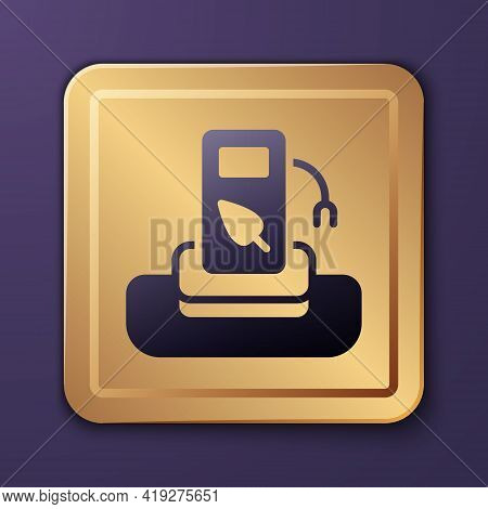 Purple Petrol Or Gas Station Icon Isolated On Purple Background. Car Fuel Symbol. Gasoline Pump. Gol