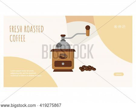 Fresh Roasted Coffee Web Page Flat Design Template