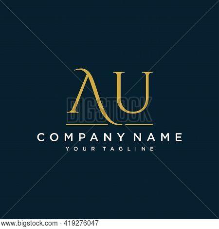 Au Logo. Company Logo. Monogram Design. Letters A And U.