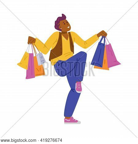 Cheerful Merry Man With Shop Bags In Hands, Flat Vector Illustration Isolated.