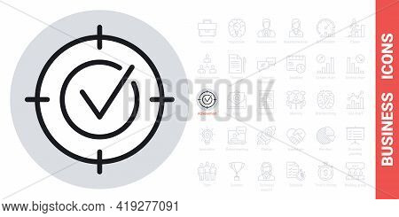 Business Purpose, Target, Goal Or Aim Icon. Simple Black And White Version From A Series Of Business