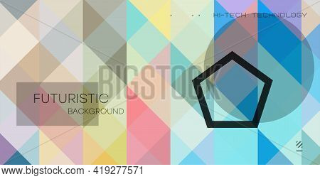 Minimal Geometric Background. Dynamic Composition Of Multicolored Shapes With Transparent Lines. Abs