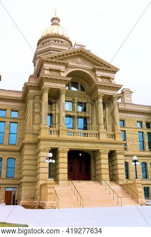 April 26, 2021 In Cheyenne, Wy:  Vintage Wyoming Capital Building Where The Governor And State Senat