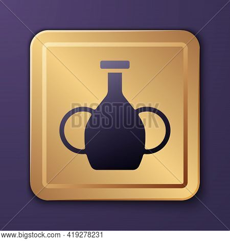 Purple Vase Icon Isolated On Purple Background. Gold Square Button. Vector