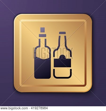 Purple Whiskey Bottle Icon Isolated On Purple Background. Gold Square Button. Vector