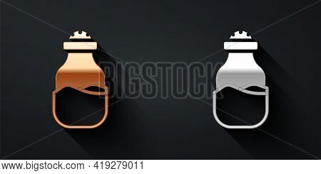 Gold And Silver In Can Icon Isolated On Black Background. Seasoning Collection. , Condiments In A Gl