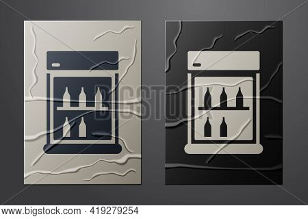 White Commercial Refrigerator To Store Drinks Icon Isolated On Crumpled Paper Background. Perishable
