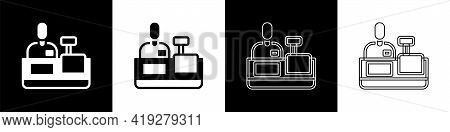 Set Cashier At Cash Register Supermarket Icon Isolated On Black And White Background. Shop Assistant
