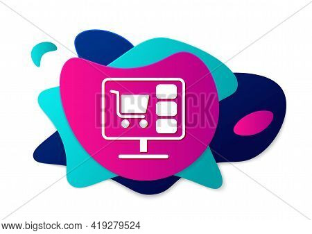 Color Shopping Cart On Screen Computer Icon Isolated On White Background. Concept E-commerce, E-busi